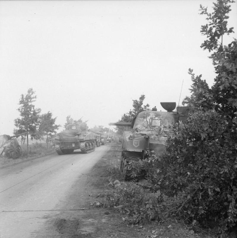 Sherman tanks of the Irish Guards Group advance past others knocked out earlier during Operation 'Market-Garden', 17 September 1944; IWM BU 925