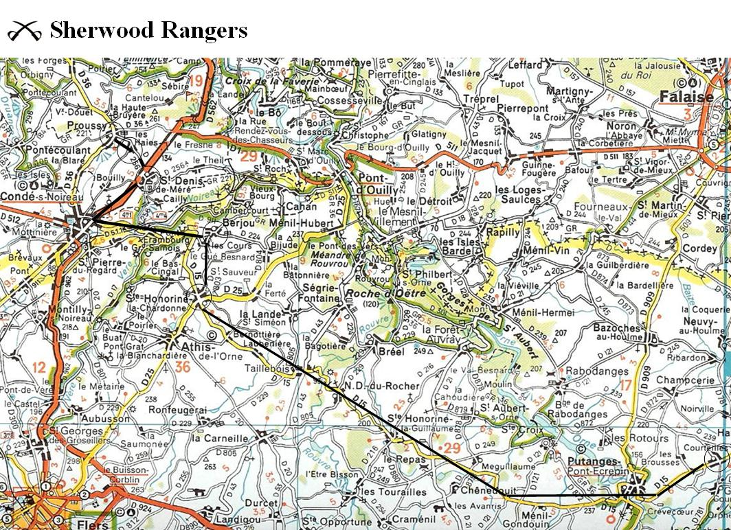 Sherwood Rangers   August 1944 route ideas 3