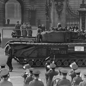 Churchill tank of 3rd Battalion, Scots Guards named 'Pluto II', Buckingham Palace during 'Salute the Soldier' week, March 1944; IWM HU 104172