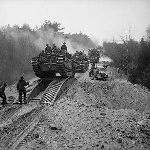Churchill tanks of the 3rd Scots Guards, 6th Guards Tank Brigade, between Celle and the River Elbe, 14 April 1945; IWM BU 3420