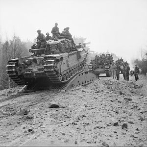Churchill tanks of the Scots Guards, 6th Guards Tank Brigade, 10th Highland Light Infantry, 15th (Scottish) Division, advance to the River Elbe, 13 April 1945; IWM BU 3428