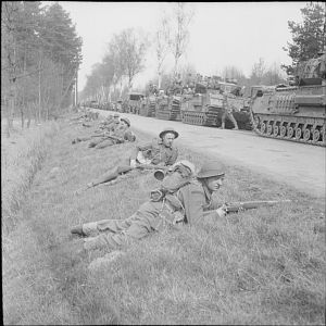 15th (Scottish Division) supported by Churchill tanks of 6th Guards Tank Brigade, advance towards Celle, 11 April 1945; IWM BU 3550