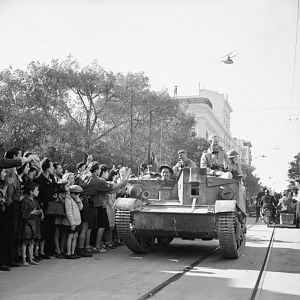Civilian population of Tunis welcoming British troops as they enter the town; IWM NA 2562